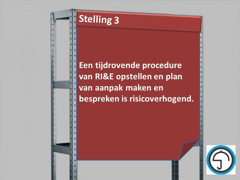 Stelling 3 Een tijdrovende procedure van RI&E opstellen en plan van aanpak maken en bespreken is risicoverhogend.