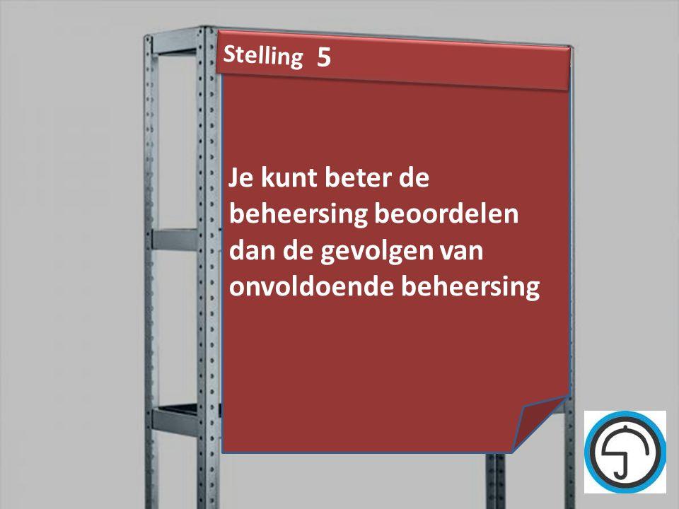 Stelling 5 Je kunt beter de beheersing beoordelen dan de gevolgen van onvoldoende beheersing.