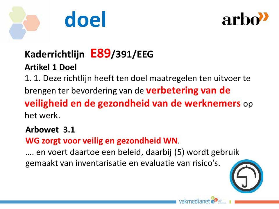 doel Kaderrichtlijn E89/391/EEG Artikel 1 Doel