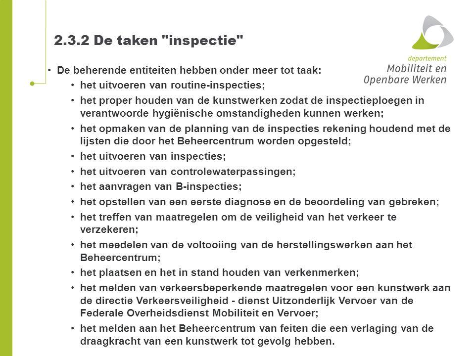 2.3.2 De taken inspectie De beherende entiteiten hebben onder meer tot taak: het uitvoeren van routine-inspecties;