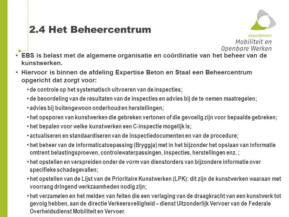 2.4 Het Beheercentrum EBS is belast met de algemene organisatie en coördinatie van het beheer van de kunstwerken.