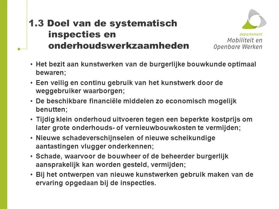 1.3 Doel van de systematisch inspecties en onderhoudswerkzaamheden