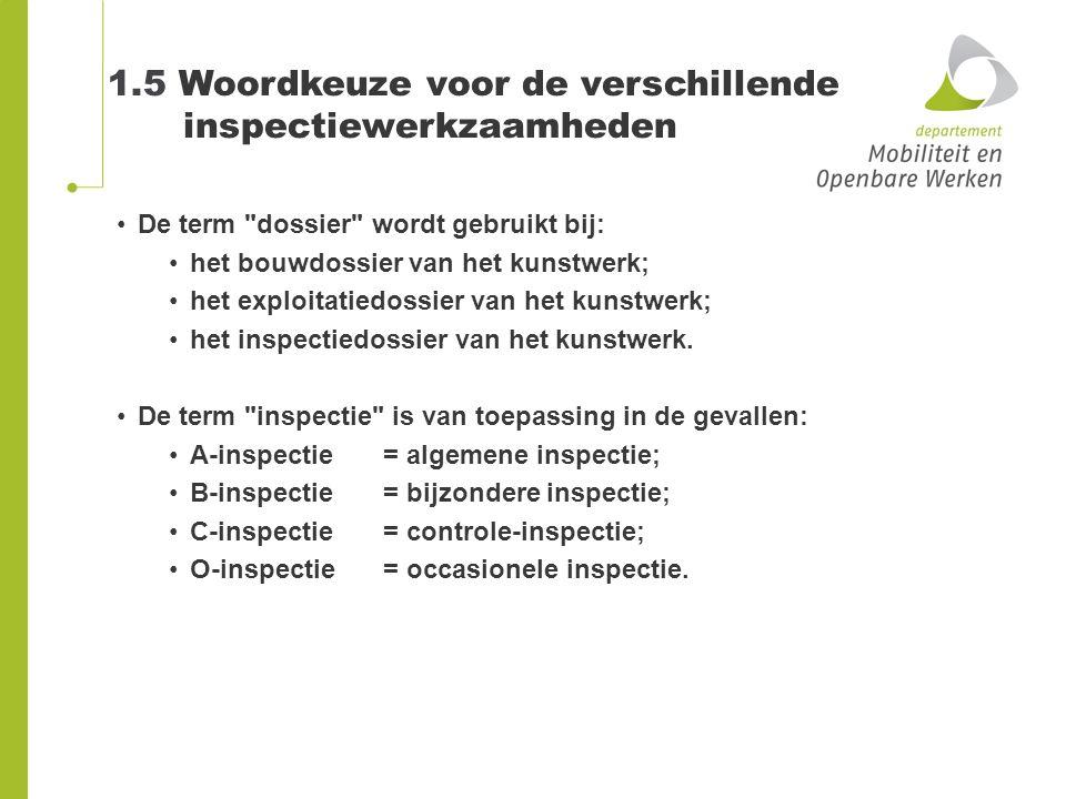 1.5 Woordkeuze voor de verschillende inspectiewerkzaamheden