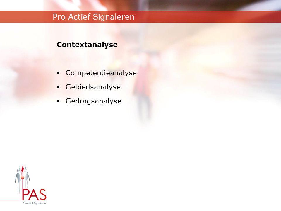 Pro Actief Signaleren Contextanalyse Competentieanalyse Gebiedsanalyse