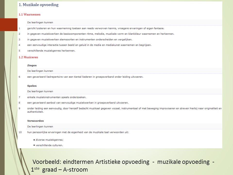Voorbeeld: eindtermen Artistieke opvoeding - muzikale opvoeding - 1ste graad – A-stroom
