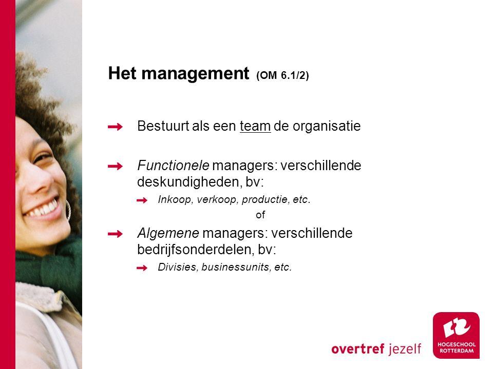 Het management (OM 6.1/2) Bestuurt als een team de organisatie