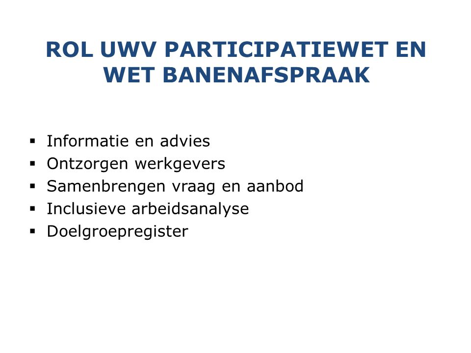 Rol UWV Participatiewet en Wet Banenafspraak