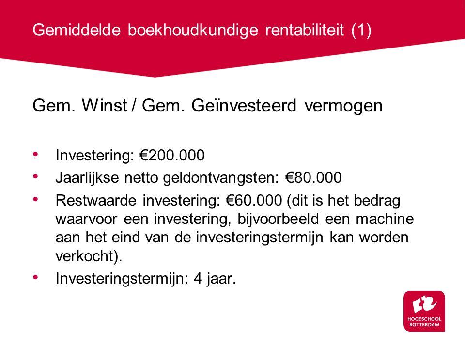 Gemiddelde boekhoudkundige rentabiliteit (1)