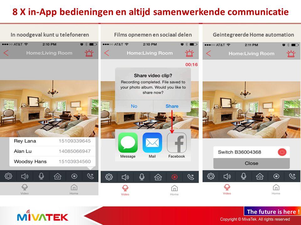 8 X in-App bedieningen en altijd samenwerkende communicatie