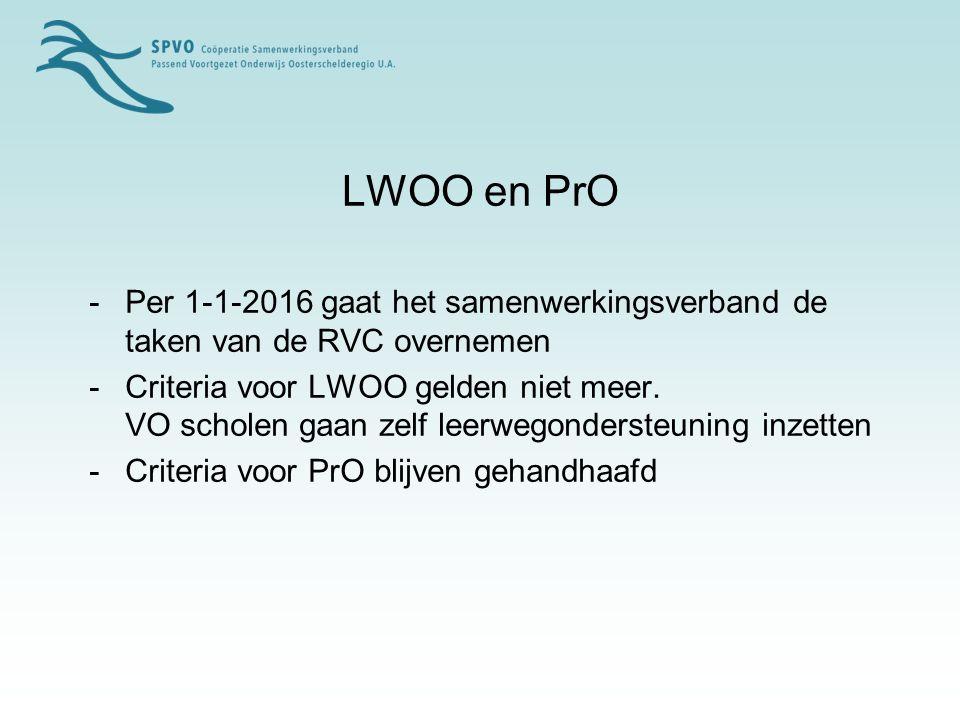 LWOO en PrO - Per 1-1-2016 gaat het samenwerkingsverband de taken van de RVC overnemen.
