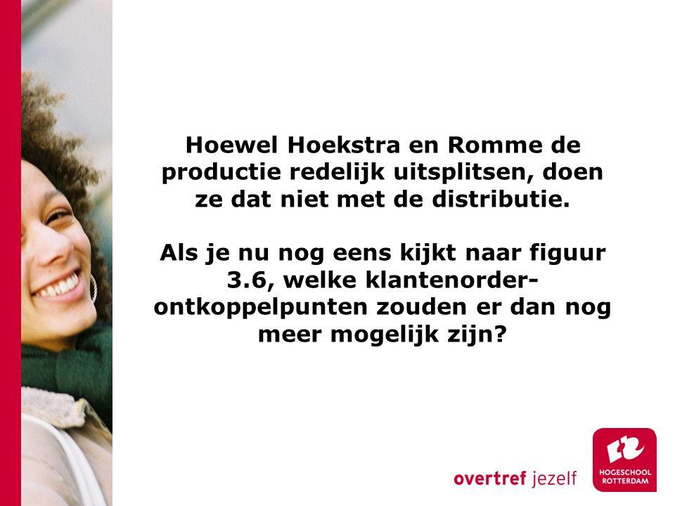 Hoewel Hoekstra en Romme de productie redelijk uitsplitsen, doen ze dat niet met de distributie.