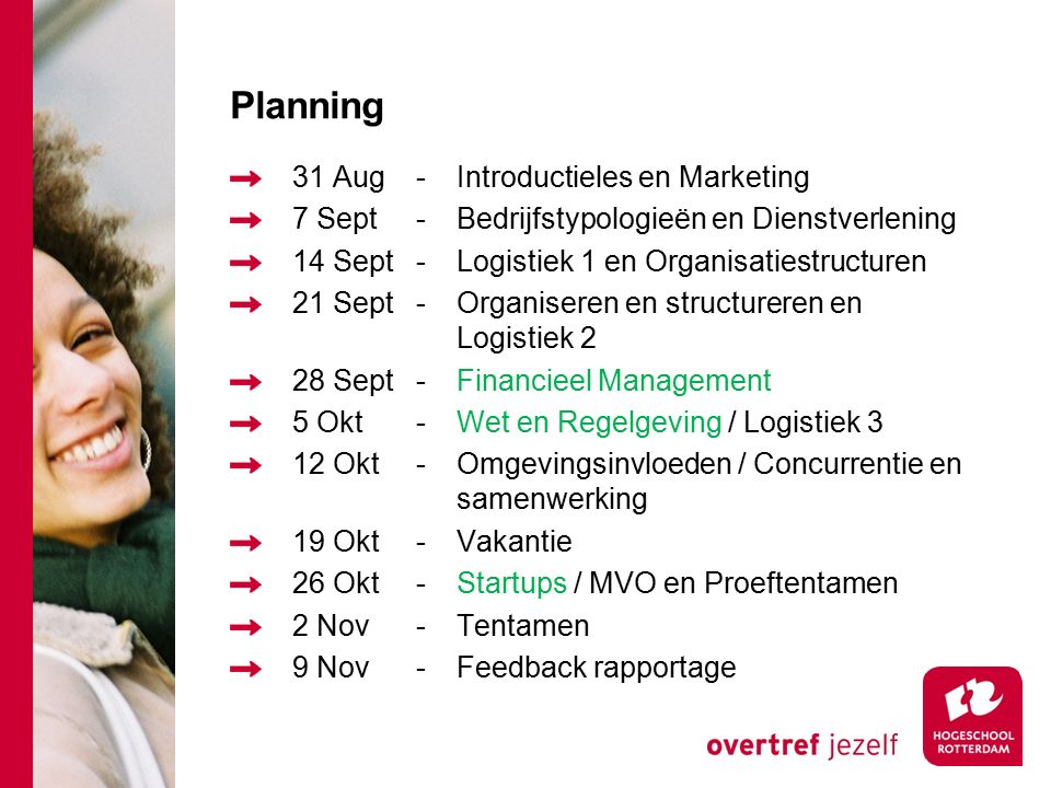 Planning 31 Aug - Introductieles en Marketing