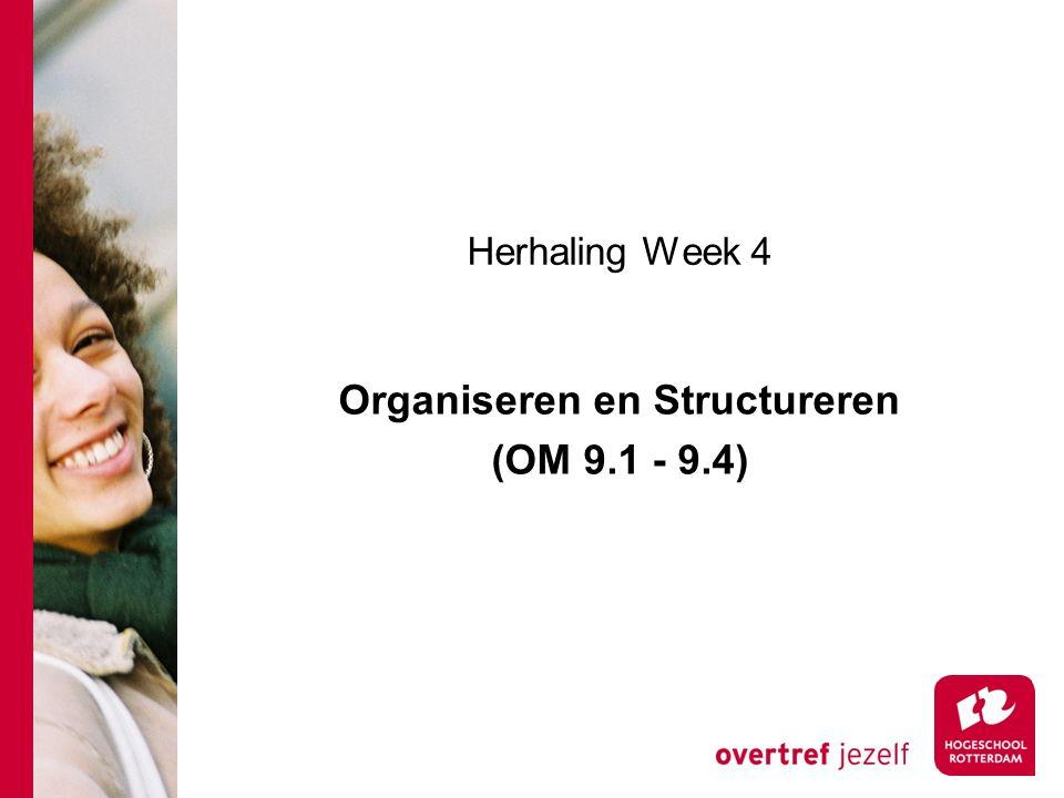 Organiseren en Structureren (OM 9.1 - 9.4)