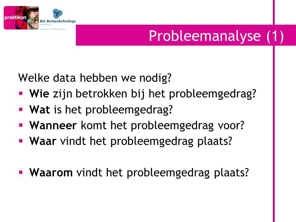Probleemanalyse (1) Welke data hebben we nodig