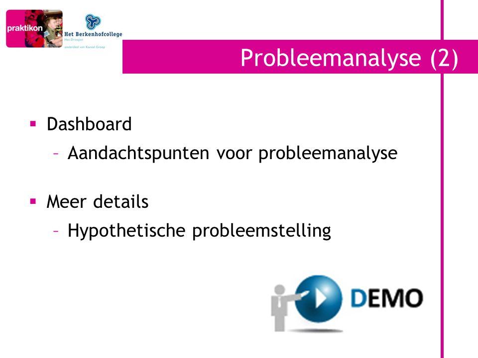 Probleemanalyse (2) Dashboard Aandachtspunten voor probleemanalyse