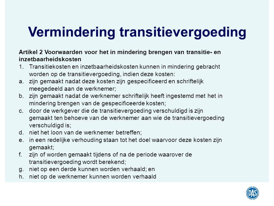 Vermindering transitievergoeding