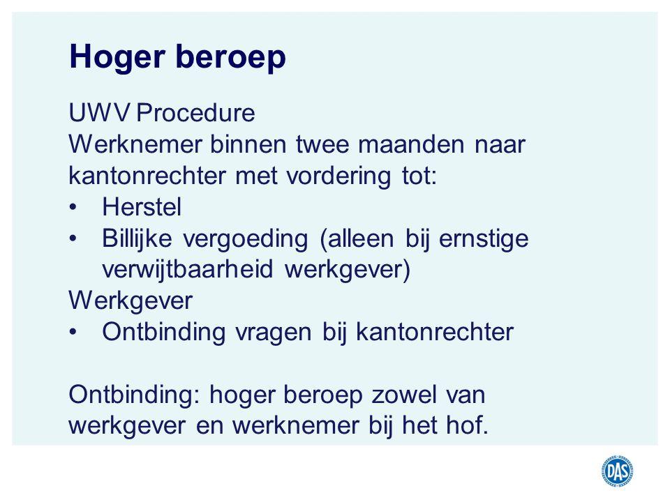 Hoger beroep UWV Procedure