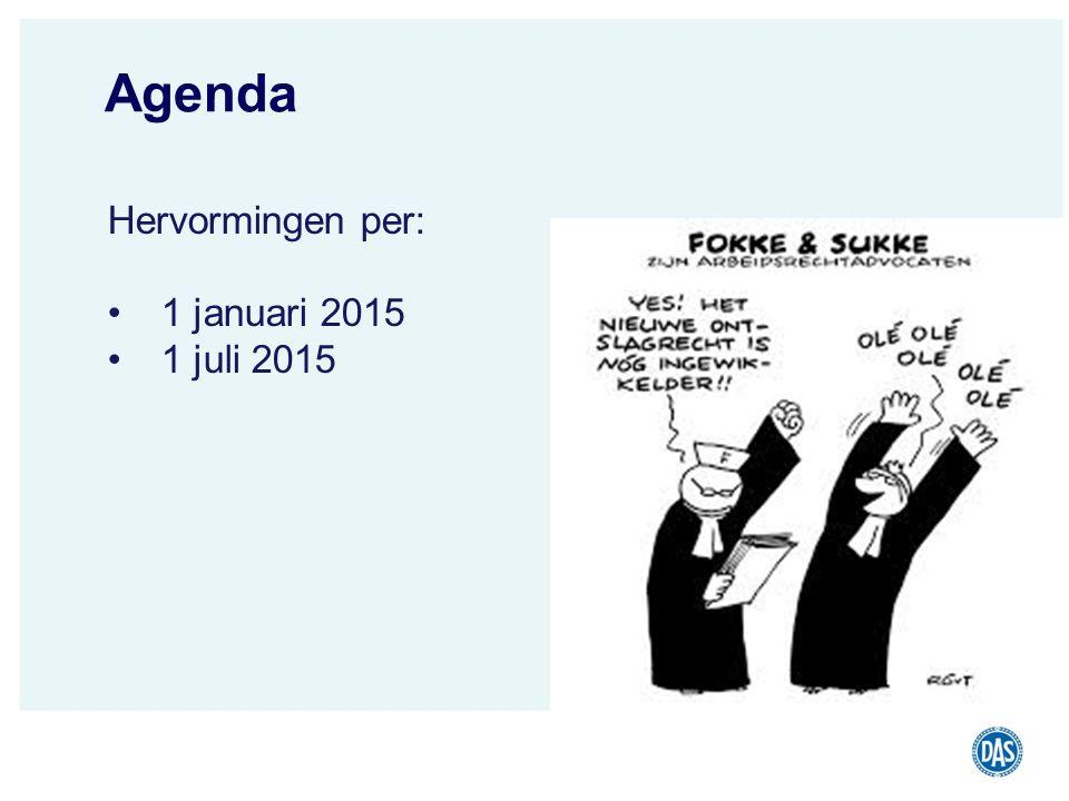 Agenda Hervormingen per: 1 januari 2015 1 juli 2015