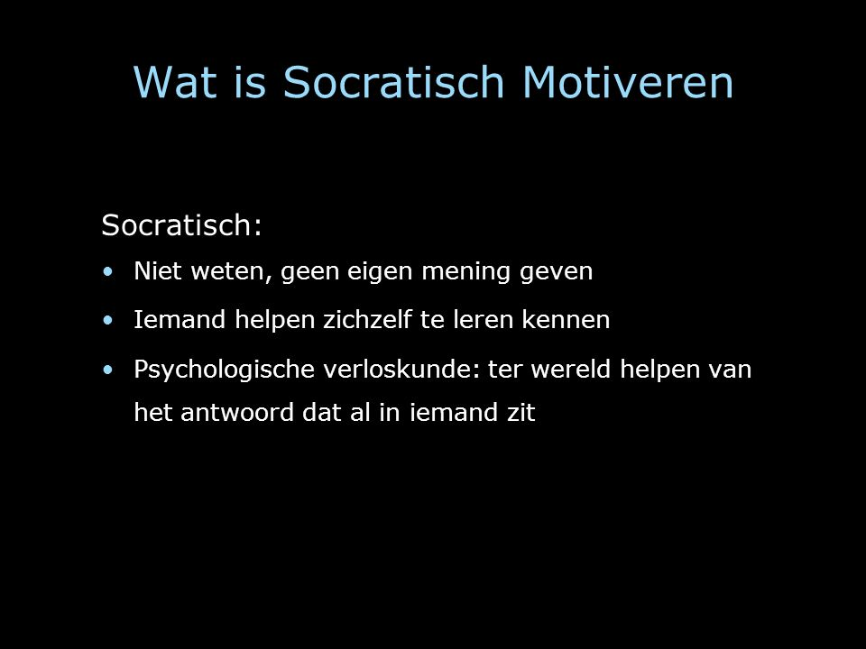 Wat is Socratisch Motiveren