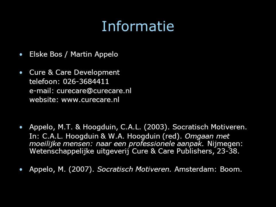 Informatie Elske Bos / Martin Appelo Cure & Care Development