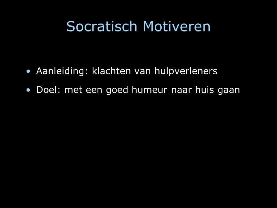 Socratisch Motiveren Aanleiding: klachten van hulpverleners