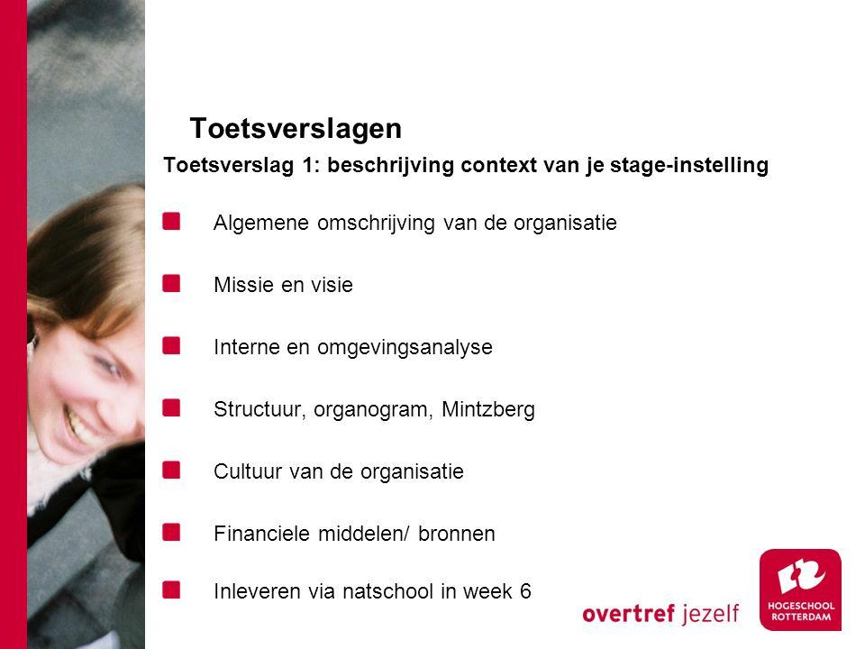 Toetsverslagen Toetsverslag 1: beschrijving context van je stage-instelling. Algemene omschrijving van de organisatie.
