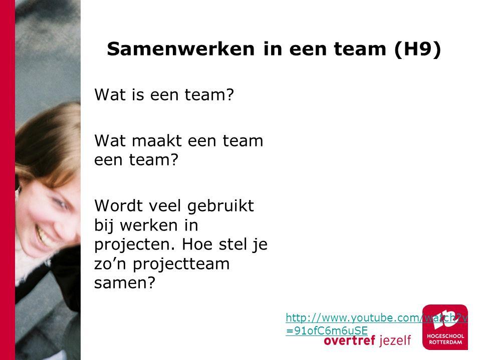 Samenwerken in een team (H9)