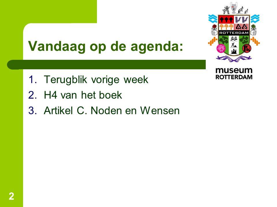 Vandaag op de agenda: Terugblik vorige week H4 van het boek