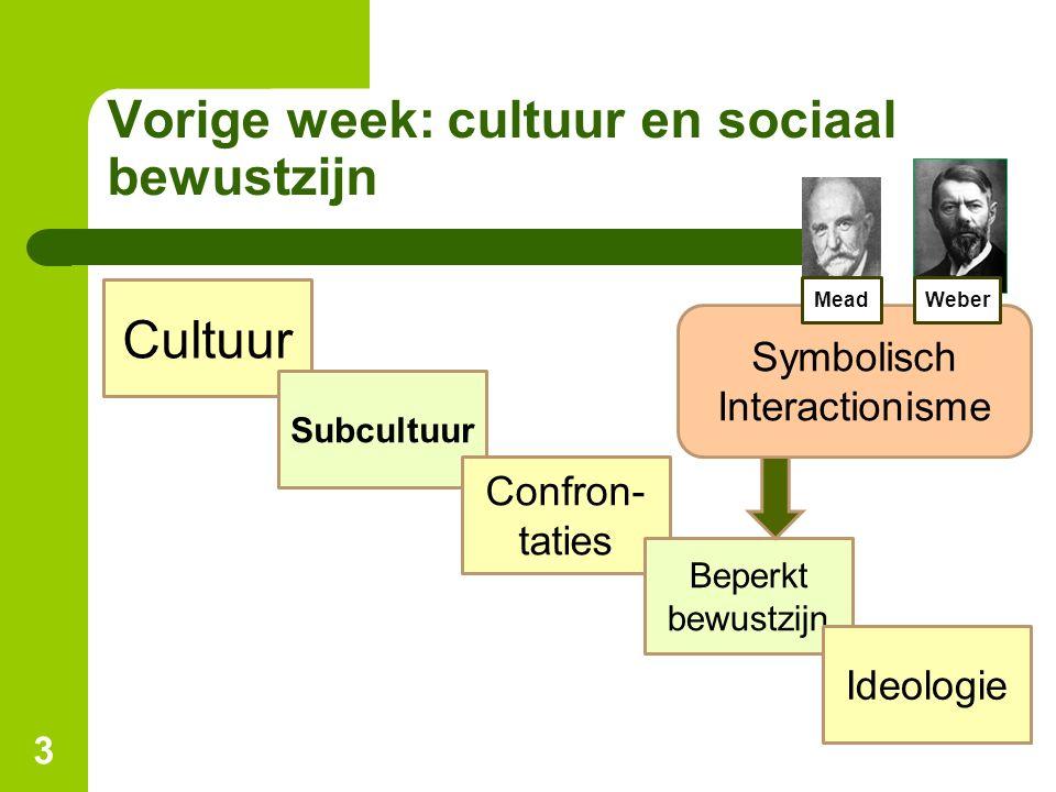Vorige week: cultuur en sociaal bewustzijn