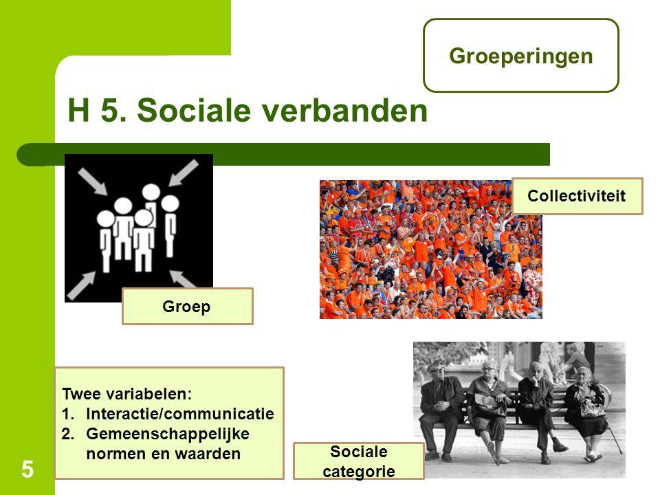 H 5. Sociale verbanden Groeperingen Collectiviteit Groep