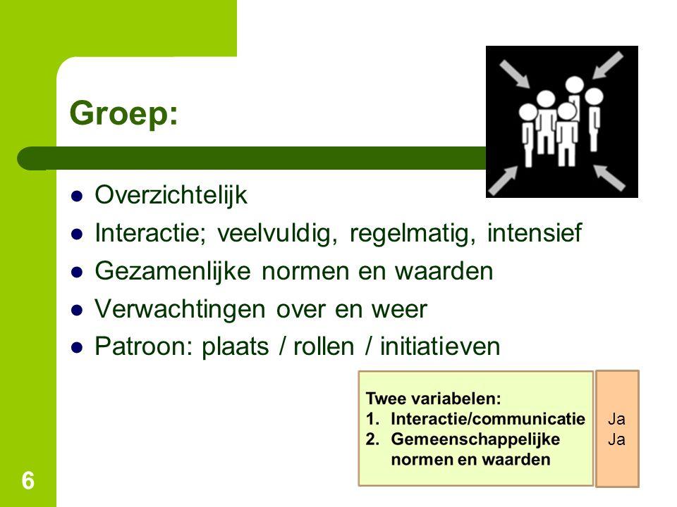 Groep: Overzichtelijk Interactie; veelvuldig, regelmatig, intensief