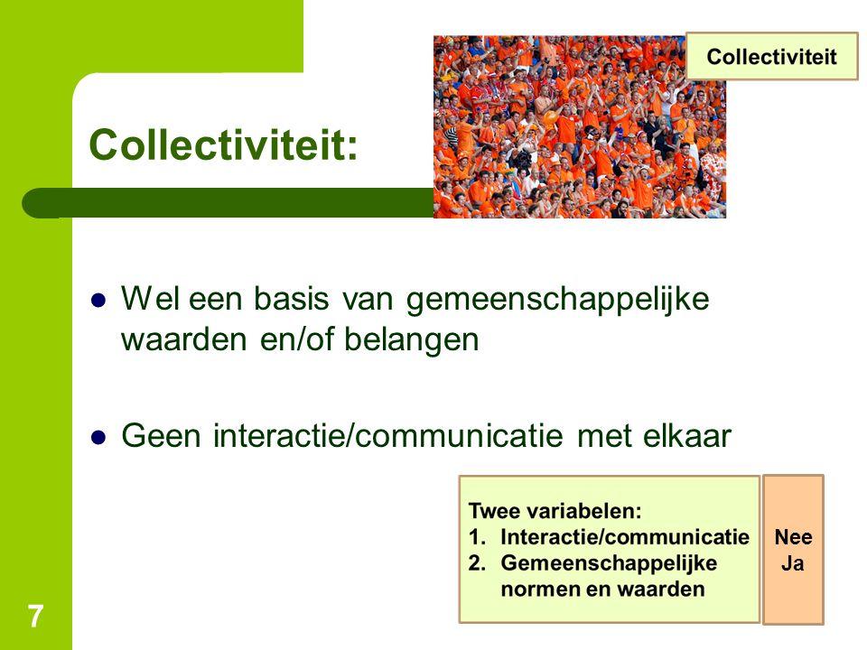 Collectiviteit: Wel een basis van gemeenschappelijke waarden en/of belangen. Geen interactie/communicatie met elkaar.