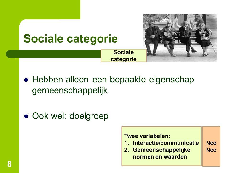 Sociale categorie Hebben alleen een bepaalde eigenschap gemeenschappelijk Ook wel: doelgroep Nee