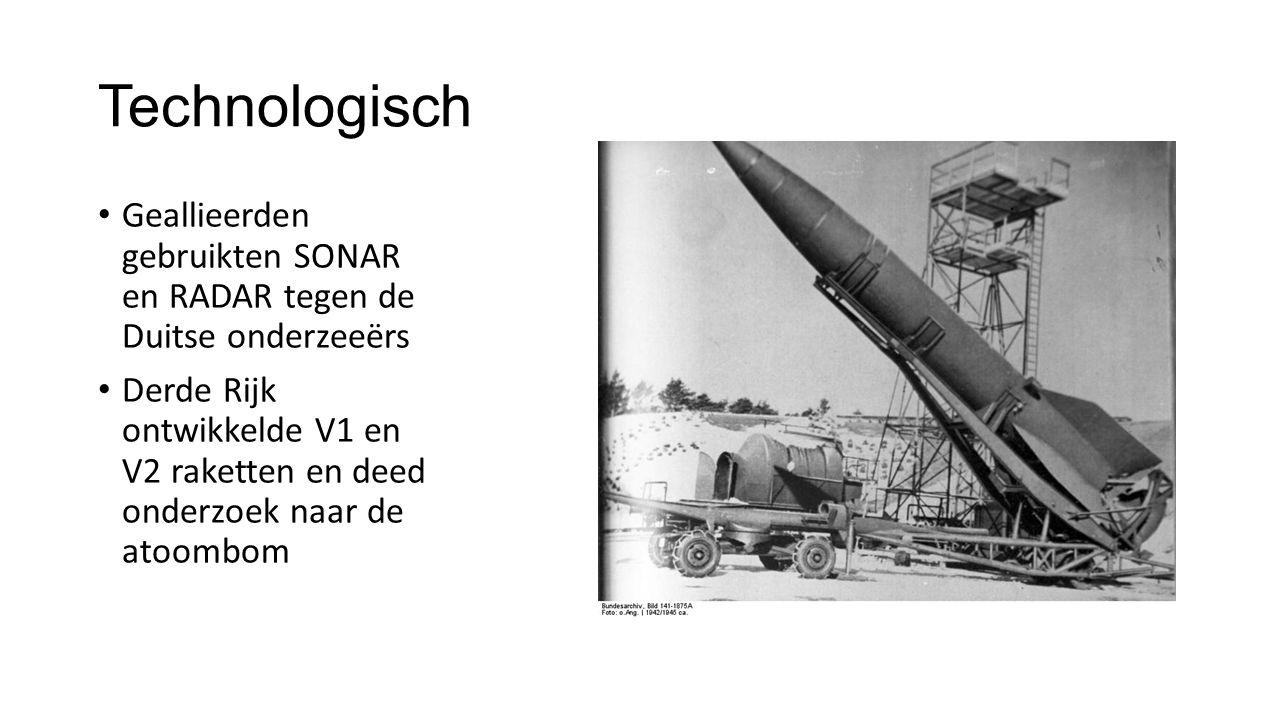 Technologisch Geallieerden gebruikten SONAR en RADAR tegen de Duitse onderzeeërs.