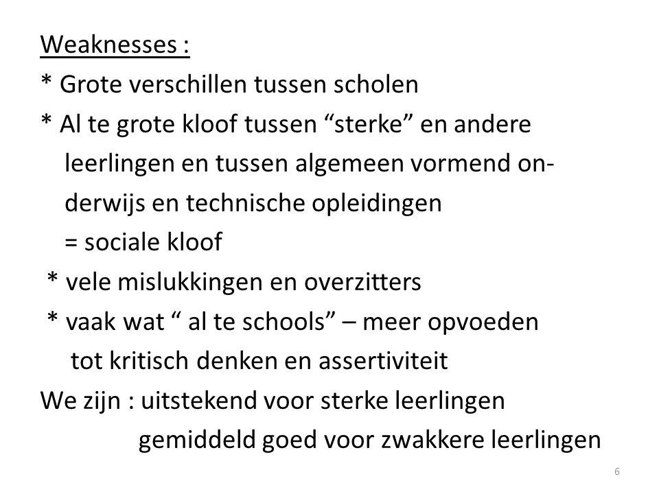 Weaknesses :. Grote verschillen tussen scholen