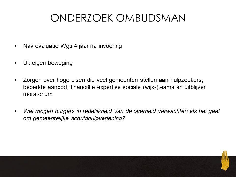 ONDERZOEK OMBUDSMAN Nav evaluatie Wgs 4 jaar na invoering