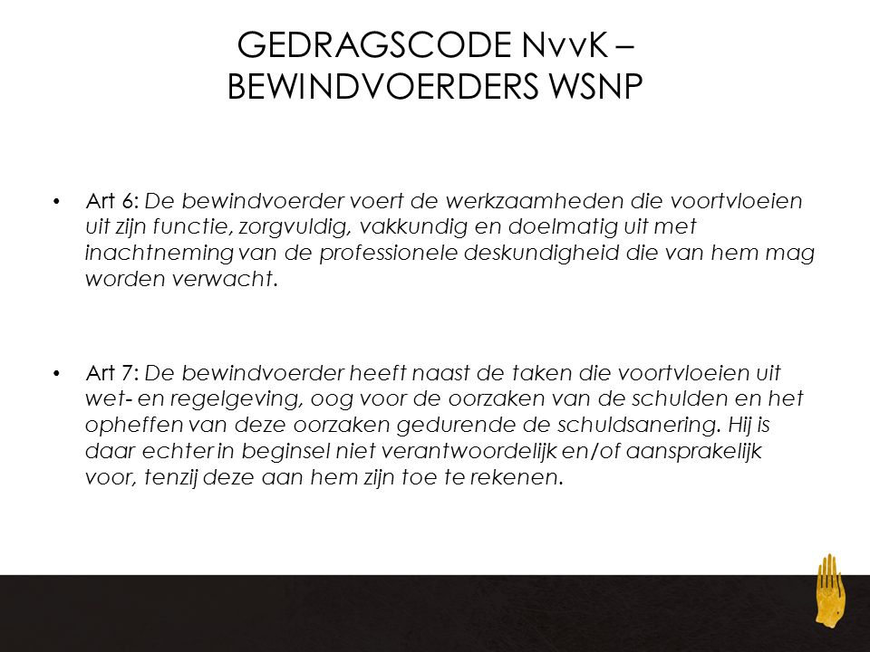 GEDRAGSCODE NvvK – BEWINDVOERDERS WSNP