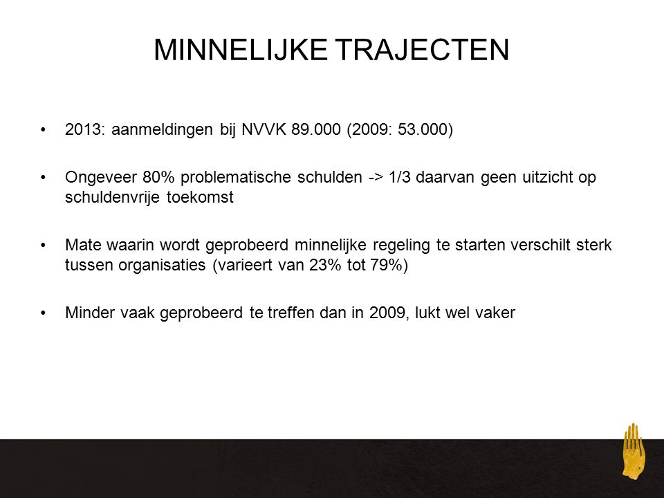 MINNELIJKE TRAJECTEN 2013: aanmeldingen bij NVVK 89.000 (2009: 53.000)