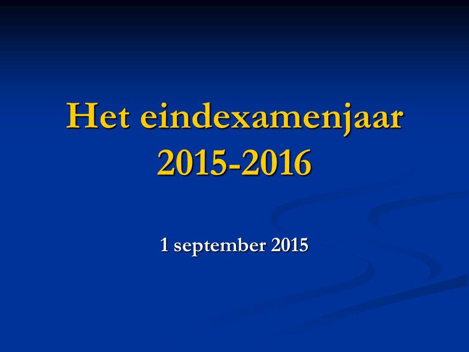 Het eindexamenjaar 2015-2016 1 september 2015