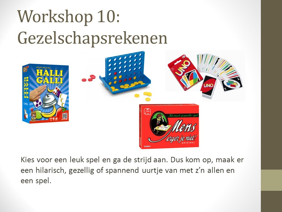 Workshop 10: Gezelschapsrekenen
