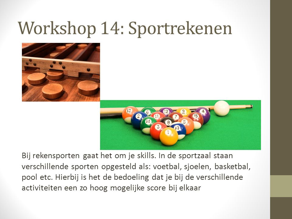 Workshop 14: Sportrekenen