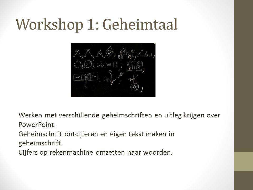 Workshop 1: Geheimtaal