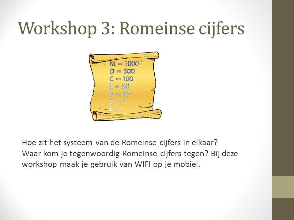 Workshop 3: Romeinse cijfers