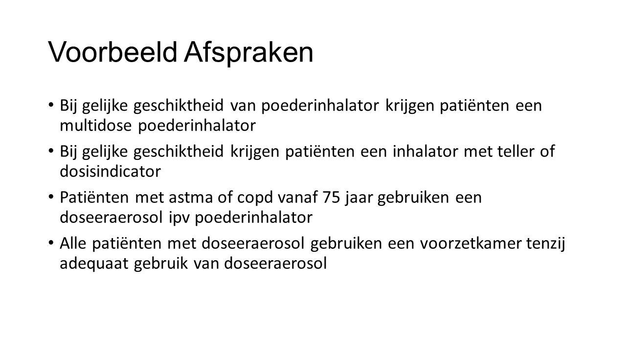 Voorbeeld Afspraken Bij gelijke geschiktheid van poederinhalator krijgen patiënten een multidose poederinhalator.