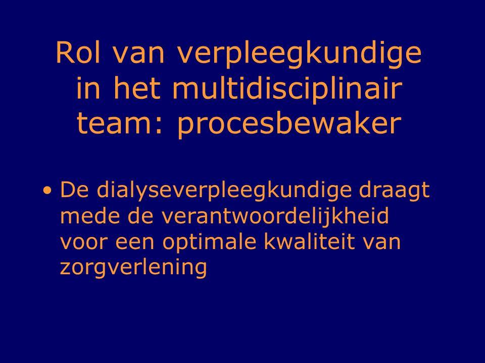 Rol van verpleegkundige in het multidisciplinair team: procesbewaker