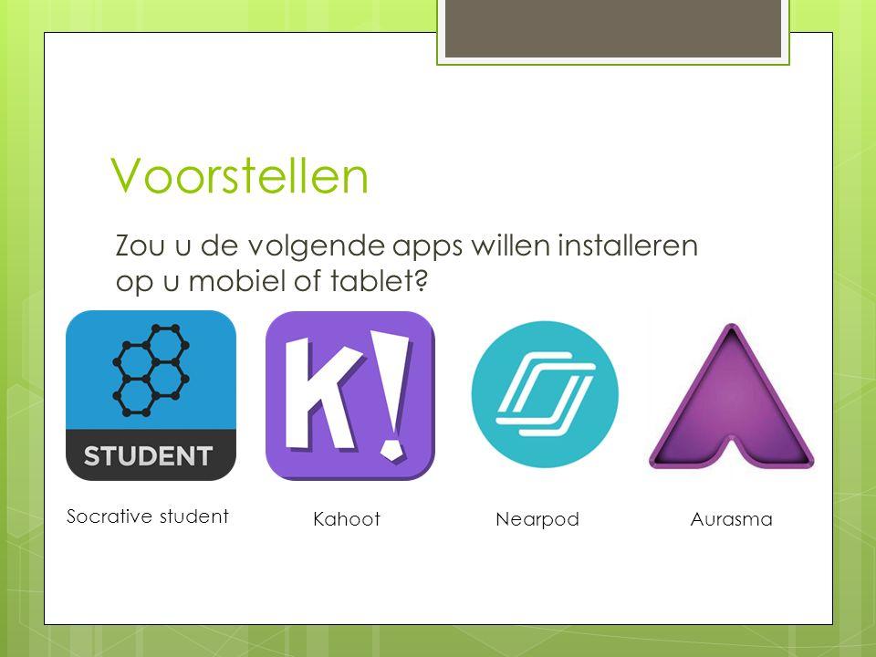 Voorstellen Zou u de volgende apps willen installeren op u mobiel of tablet Socrative student. Kahoot.