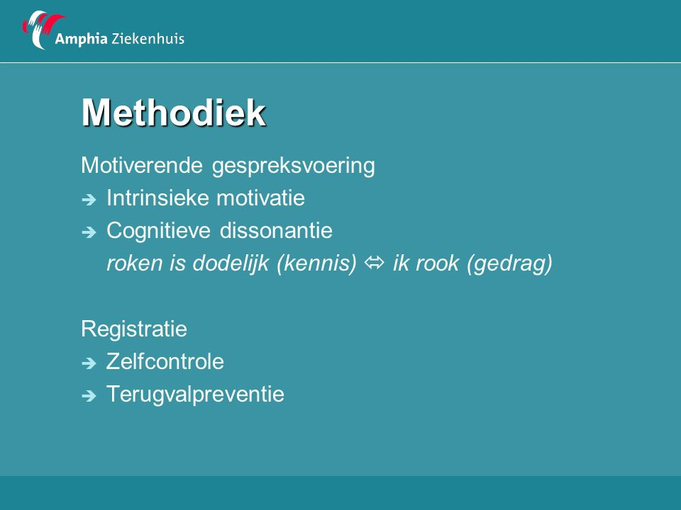 Methodiek Motiverende gespreksvoering Intrinsieke motivatie