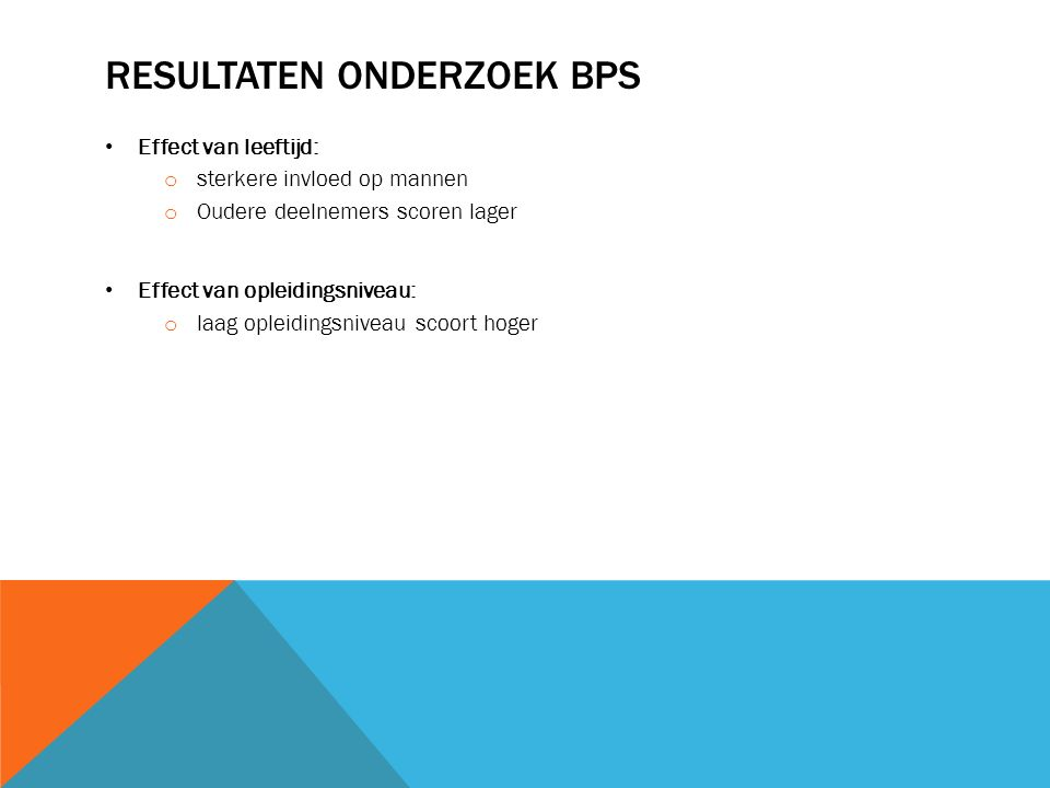 Resultaten onderzoek BPS