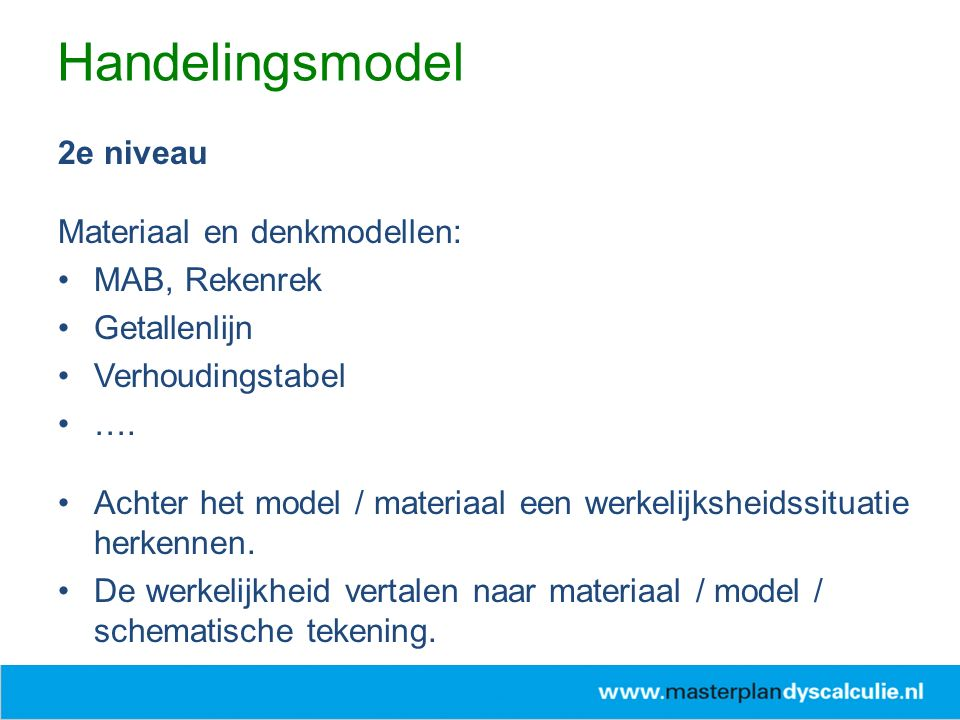 Handelingsmodel 2e niveau Materiaal en denkmodellen: MAB, Rekenrek