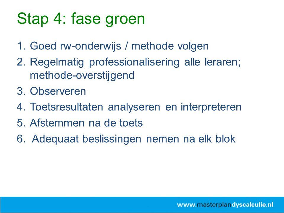 Stap 4: fase groen Goed rw-onderwijs / methode volgen